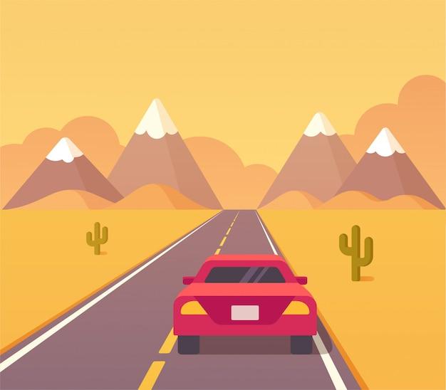 Ilustración de carretera del desierto con coche rojo. viaje por carretera estadounidense.