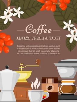Ilustración de cartel de cafetería café orgánico siempre fresco y natural. equipo de barista como máquina de café espresso, granos de café, olla. plantas