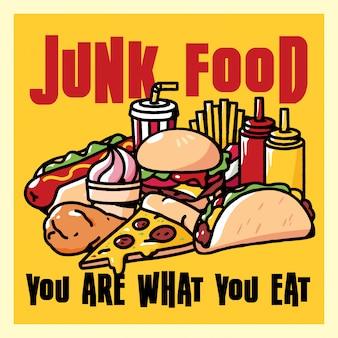 Ilustración de cartel de comida chatarra