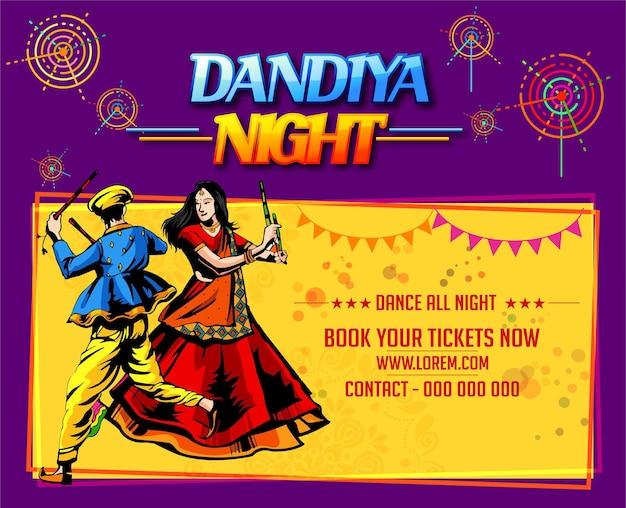 Ilustración del cartel de la discoteca garba festivalnavratri celebrationcartel de la noche de gujarati dandiya