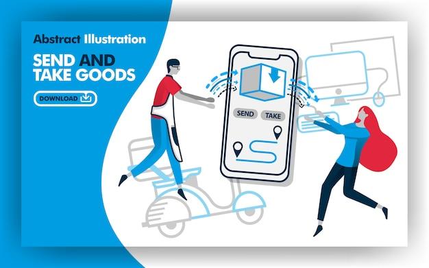 Ilustración del cartel de enviar y tomar mercancías