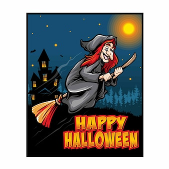 Ilustración de cartel de halloween de bruja voladora