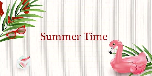 Ilustración del cartel de horario de verano. ilustración de vacaciones de verano.