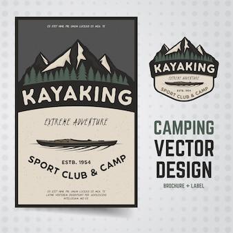 Ilustración de cartel de kayak