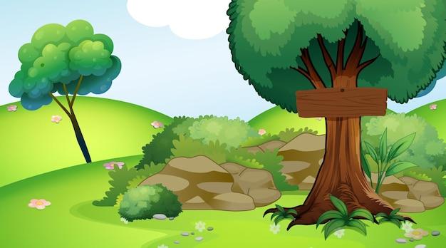 Ilustración con cartel de madera en el parque.