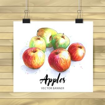 Ilustración de cartel de manzanas