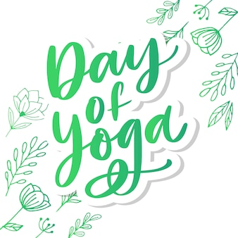 Ilustración, cartel o pancarta de letras del día internacional del yoga