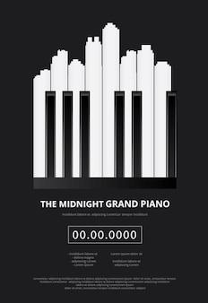 Ilustración de cartel de piano de cola de música