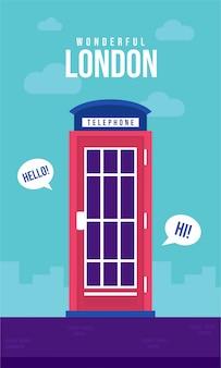Ilustración de cartel plano de cabina telefónica