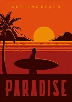 Ilustración de cartel de surf beach paradise en estilo retro vintage