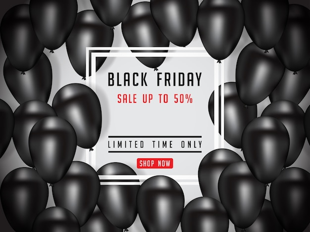 Ilustración de cartel de venta de viernes negro con globos brillantes