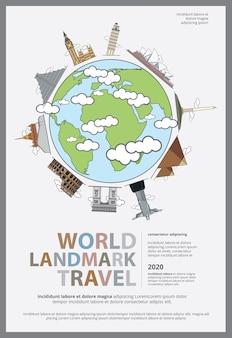 La ilustración del cartel de world landmark travel