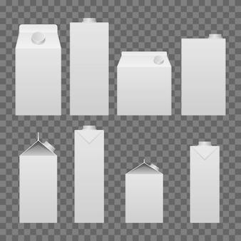 Ilustración de cartón de leche y jugo