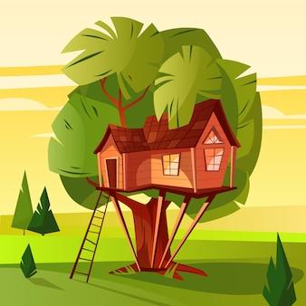 Ilustración de la casa del árbol de la cabaña de madera con escalera y ventanas en el bosque.