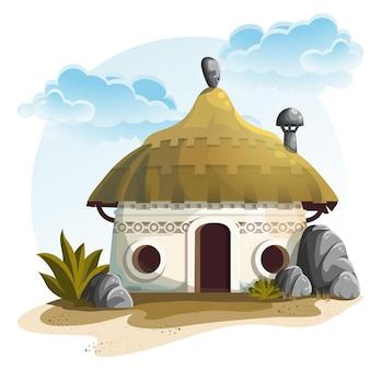 Ilustración casa con cactus y rocas bajo el cielo nublado