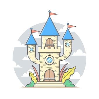 Ilustración de la casa del castillo de hadas con nubes y cielo