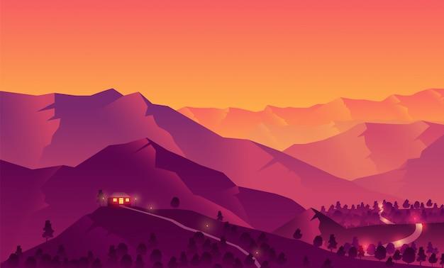 Ilustración de una casa en la cima de una montaña con una hermosa puesta de sol en las montañas siluetas de árboles y bosques