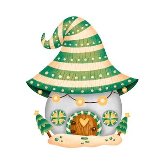 Ilustración de la casa de gnomo de navidad de dibujos animados