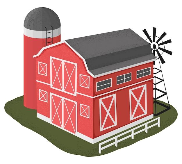 Ilustración de casa de granero de madera en estilo de dibujos animados. ilustración vectorial sobre fondo blanco