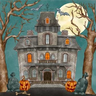 Ilustración de casa de halloween en acuarela