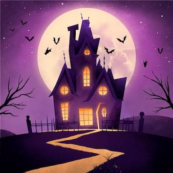Ilustración de casa de halloween en acuarela vector gratuito