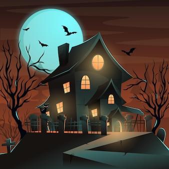 Ilustración de casa de halloween degradado