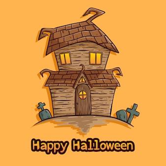 Ilustración de la casa de halloween con estilo dibujado a mano coloreado sobre fondo naranja