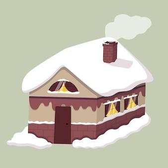 Ilustración de una casa de madera de cuento de hadas. invierno, deriva en las ventanas y en el techo.