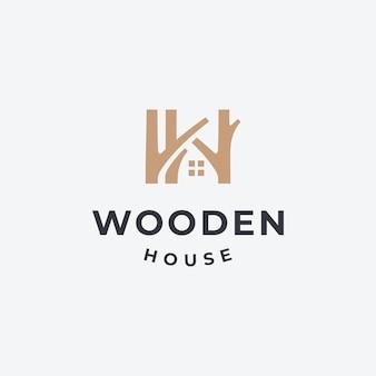Ilustración de casa de madera diseño de logotipo de casa.