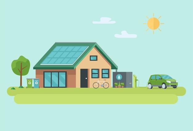 Ilustración de la casa moderna sostenible ecológica.