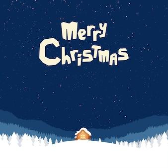 Ilustración de la casa de santa en el bosque nevado con cielo azul oscuro en la víspera de navidad