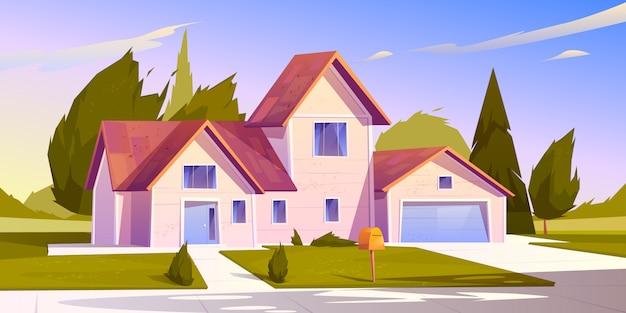 Ilustración de la casa suburbana