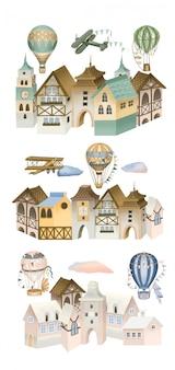 Ilustración de casas bávaras, aviones retro y globos aerostáticos en el cielo