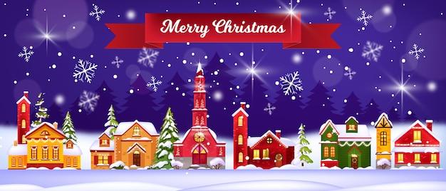 Ilustración de casas de invierno de vacaciones de navidad con pueblo de nieve, iglesia, pinos, cielo nocturno