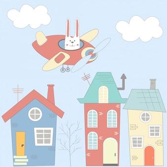 Ilustración con casas, liebre y avión en estilo de dibujos animados
