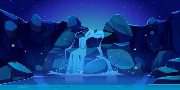 Ilustración de cascada y rocas en la noche