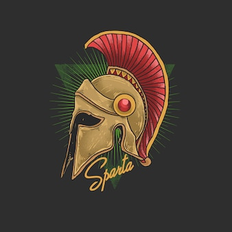 Ilustración de casco de esparta