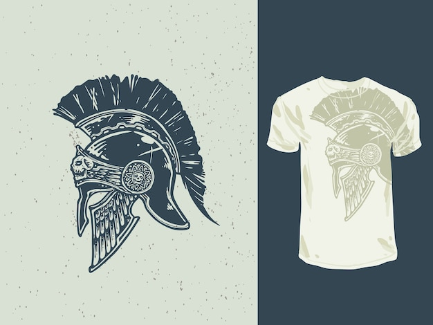 Ilustración de casco espartano dibujado a mano vintage