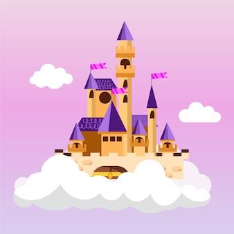 Ilustración del castillo creativo de cuento de hadas