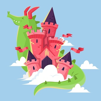 Ilustración del castillo de cuento de hadas con dragón