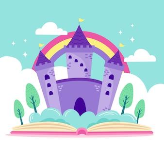 Ilustración del castillo de cuento de hadas en libro