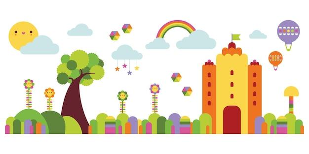 Ilustración de castillo de cuento de hadas con lindo diseño de paisaje para decoración de paredes