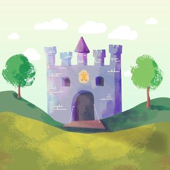 Ilustración de castillo de cuento de hadas mágico