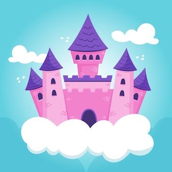 Ilustración del castillo de cuento de hadas en las nubes