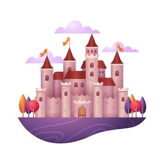 Ilustración con castillo de cuento de hadas