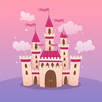 Ilustración del castillo de cuento de hadas