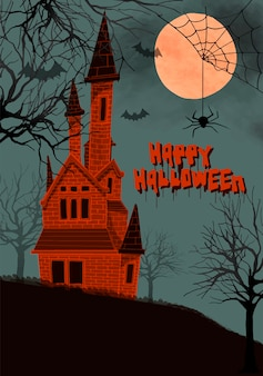 Ilustración de un castillo en el fondo de la noche para halloween