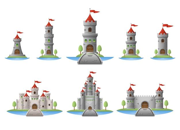 Ilustración de castillo medieval aislado sobre fondo blanco