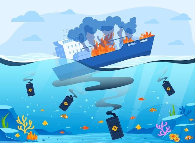 Ilustración de catástrofe ecológica de la industria del gas de petróleo.