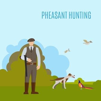 Ilustración de caza de faisán